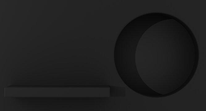 3D mock up, geometric blank background, minimal showcase round niche shape, art deco shop display, black color. 3d rendering.