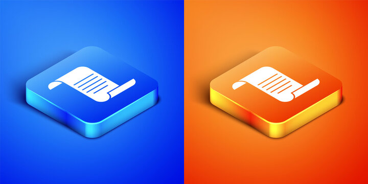 Isometric Document with shield icon isolated on blue and orange background. Insurance concept. Security, safety, protection, protect concept. Square button. Vector.
