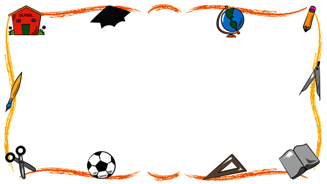 frame of education with school ball globe and graduation cap