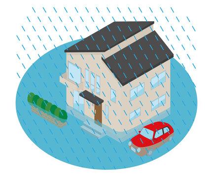 大雨が降って冠水した家のイラスト.