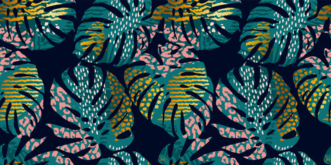 Seamless exotic pattern with tropical leaves, animal prints and hand drawn textures. Vector illustration.