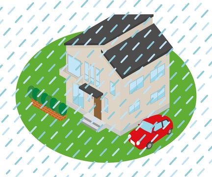外が土砂降りになっている家のイラスト