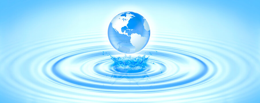 Save clean water, globe world for environmental, ecology, nature, pure water, skincare, keep ocean sea concept. Planet Earth drop into Blue wave make splash water with copy space text World Water Day.