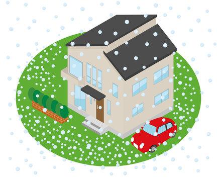 雹が降り周りに積もる家のイラスト