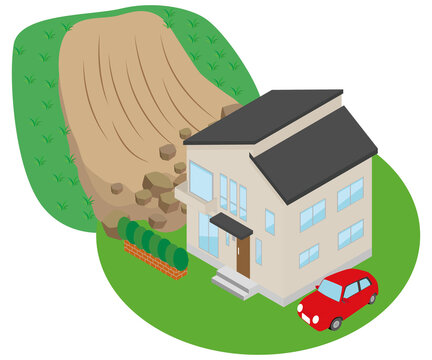 土砂崩れに襲われる家のイラスト