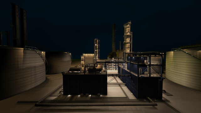 Perspective night light on oil and gas refinery industrial building.3d rendering.