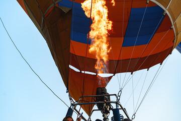 Close up of hot air balloon getting prepared for flight Fotobehang