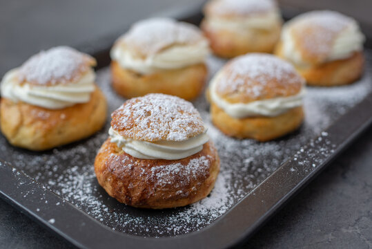 traditional home made swedish semlor pastry on a table