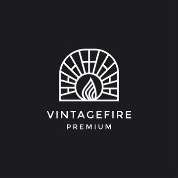 line fire logo or icon design. Vector illustration in black backround