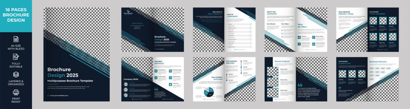 16 page Multipurpose Brochure template, Company Profile, Simple style and modern layout, Business Proposal, presentations, Annual report, Corporate report, advertising
