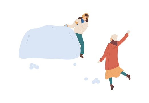 Woman hiding behind snow fortress or snowdrift while her girlfriend throwing snowball. Two friends having fun and playing winter games. Colored flat vector illustration isolated on white background