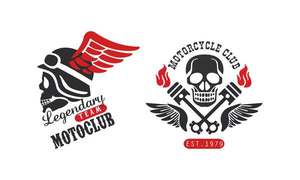 Motorcycle Club Retro Logo Templates Set, Legendary Team Motorclub Vintage Badges Vector Illustration