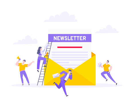 Subscribe now to our newsletter vector illustration with tiny people working with envelope and newsletter. Email news subscription or mail marketing business flat style design concept.