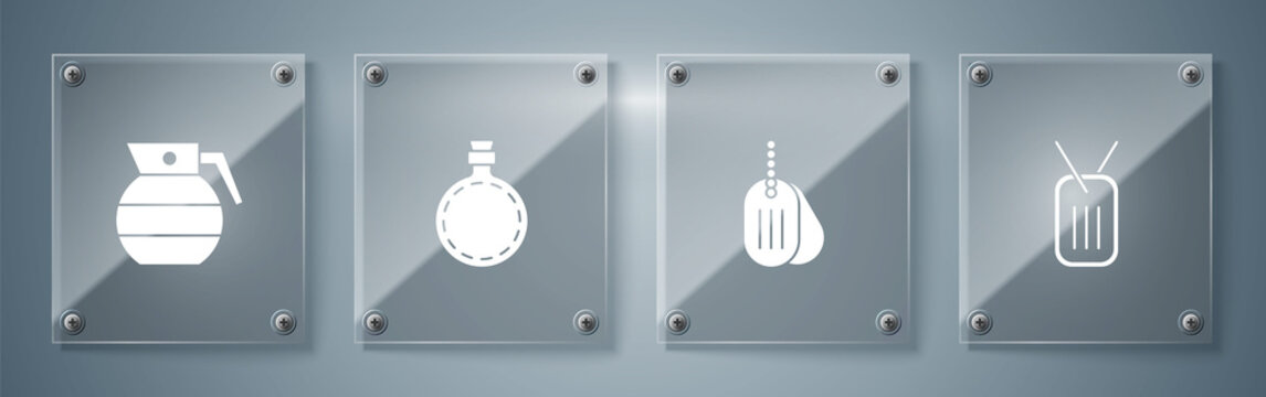 Set Military dog tag, , Canteen water bottle and Hand grenade. Square glass panels. Vector.