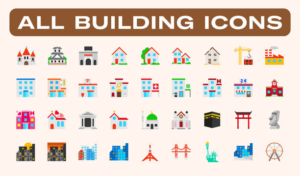 All type of Buildings, Architecture Examples Vector Illustration Icons Set. Residential Buildings, Skyscrapers, Famous Landmarks, Mosque, Church, School, Hospital, Urban Isolated Symbols Collection