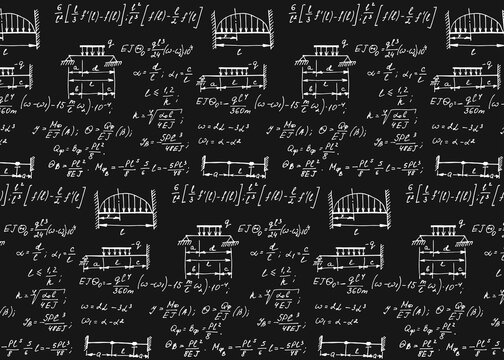 Physics seamless pattern with the equations, figures, schemes, formulas and other calculations on chalkboard. Retro scientific and educational handwritten vector Illustration.