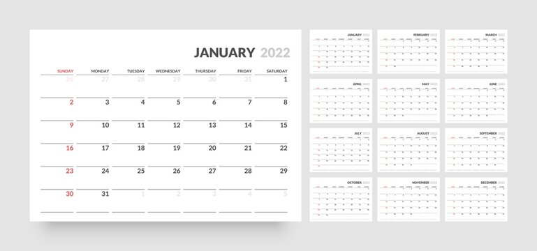 Monthly calendar template for 2022 year. Week Starts on Sunday. Wall calendar in a minimalist style.
