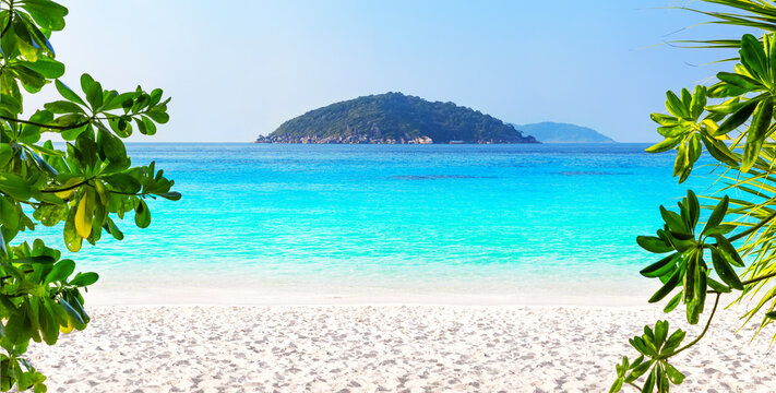 Beautiful beach and blue sky in Similan islands, Thailand.