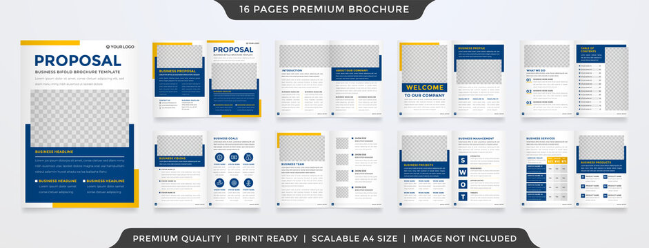 bifold brochure layout template design with clean style and minimalist concept use for business proposal and annual report