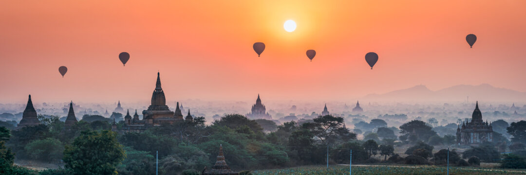 Hot air balloons over the old temples in Bagan, Myanmar