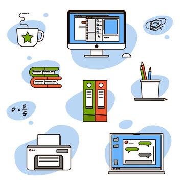 Sticker pack with icons for business - work from home and online learning. Laptop with messenger, computer with files, folders with documents, books, pencils, coffee mug, formula and printer