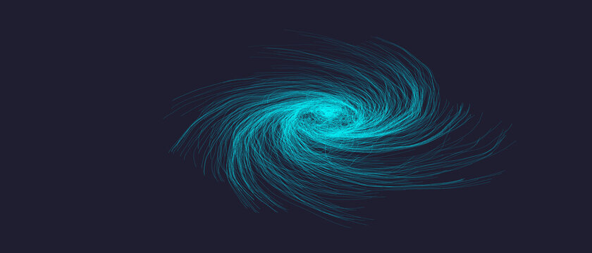 abstract spiral lines sci-fi graphic template of hurricane cyclone wind