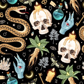 Seamless magic pattern with supply for witchcraft
