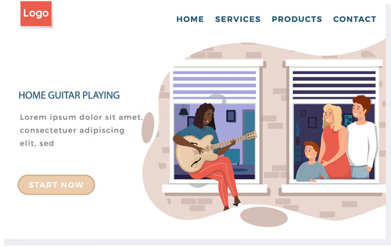 African American woman on balcony plays guitar. Website with home guitar playing. Family listens to music. People at home enjoying time with musical instrument. Musician plays strings on instrument