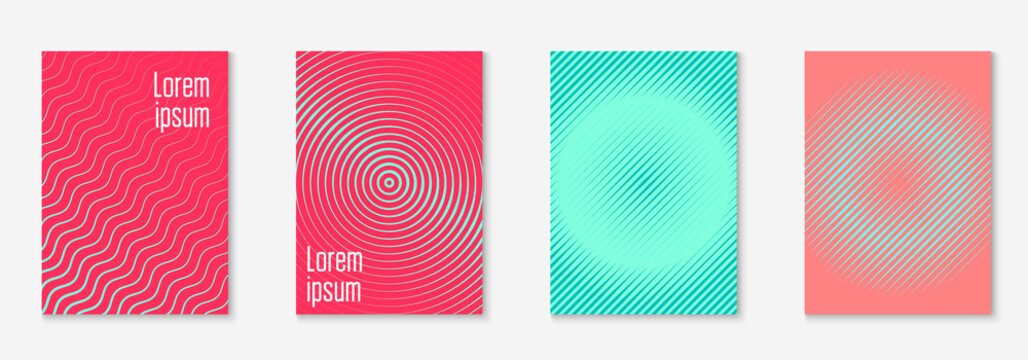 Poster design modern. Pink and turquoise. Cool book, certificate, page, notebook layout. Poster design modern with minimalist geometric lines and shapes.