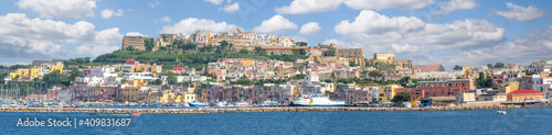 Wall mural Landscape with panoramic view of Procida island, Italy