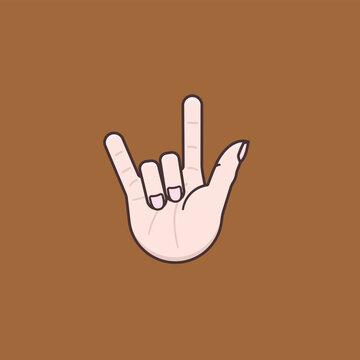 "Hand gesture for ""I love you"" vector illustration for International Day of Sign Languages on September 23"
