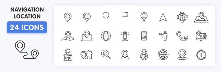 Wall Mural - Set of 24 Navigation and location web icons in line style. GPS, compass, global, marker, map, pointer. Vector illustration.