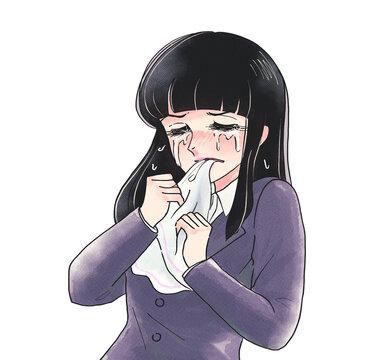 レトロ少女漫画風・ハンカチを噛んで悔しがる・大泣きのOL