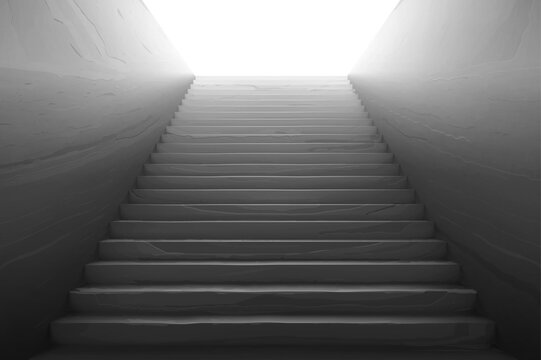 Old staircase with broken concrete steps, scratches on wall and white light on top. Vector realistic interior with empty stone stair rising from tunnel. Concept of hard career growth, future success