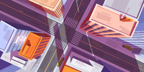 City top view with buildings and car road intersection with pedestrian crosswalk. Vector cartoon illustration of cityscape in aerial view, street crossroad, sidewalk and roofs of urban houses