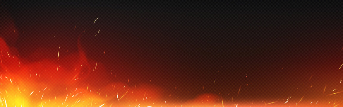 Fire with sparks and smoke isolated on transparent background. Vector realistic illustration of hot blaze with flying sparkles and burning particles from bonfire, ignition or blacksmith stove