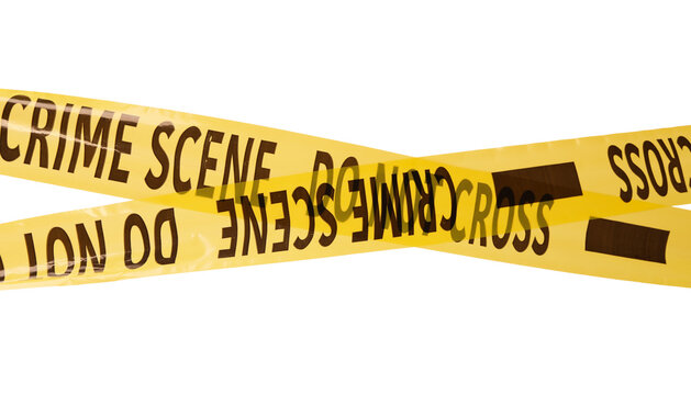 Yellow crime scene tapes isolated on white