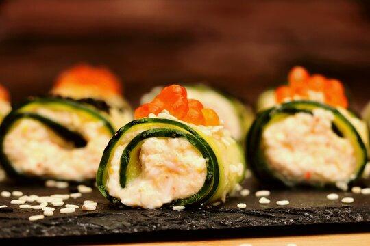 Cucumber rolls, vegetarian food, delicious and healthy breakfast