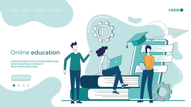 Online education.Educational webinar,online education at home.Online advanced training courses.the concept of distance learning.flat vector illustration.The landing page template.