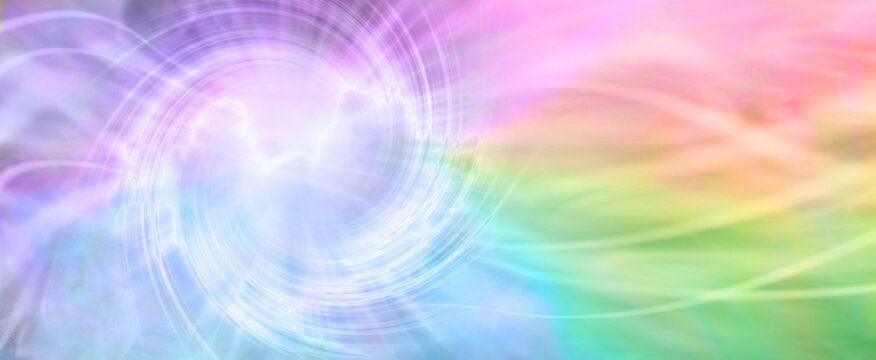 Rainbow Spiraling Vortex Background Banner - beautiful ethereal radiating gaseous energy  field with a spiral on left side with streams of energy trailing across to the right side and space for  copy