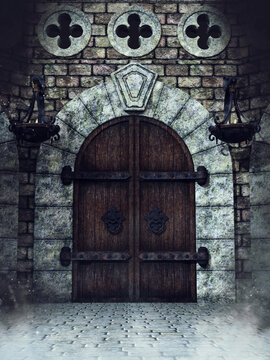 Old wooden medieval door to a castle with lanterns holding fire. 3D render.