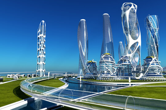 A colorful city of the future.