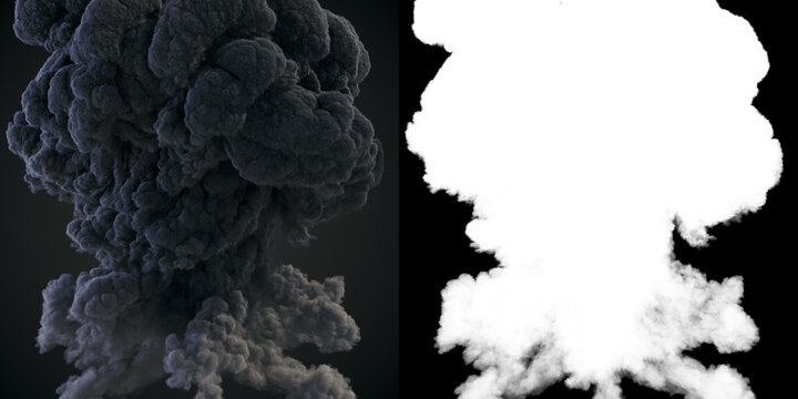Large plumes of dark smoke with alpha channel matte. 3d rendering illustration