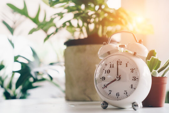 Selective focus of alarm clock show 8 o'clock or 8 a.m. on table with nature bokeh background. Time in life.