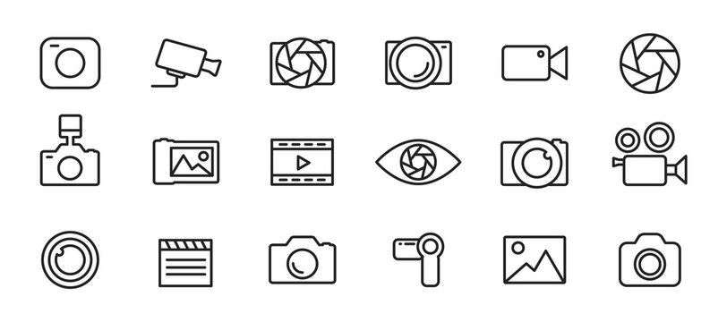 Simple set of icons of camcorders and photo cameras thin line style. Photography icons set. Security camera icon. Photo and video icons. Multimedia icon set. Vector illustration