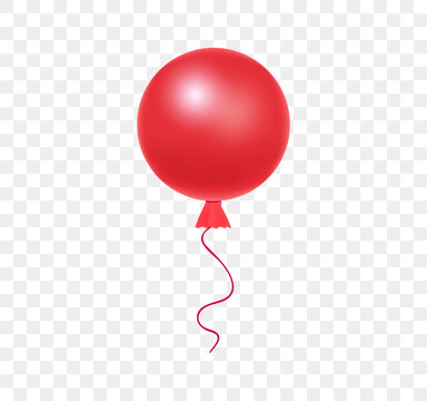 Red helium balloon with ribbon in realistic style. Large round red ball with a long ribbon for party and celebrations on transparent background. Vector illustration for your design.