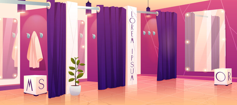 Clothing shop fitting rooms cartoon vector