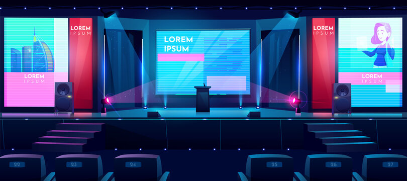 Business conference hall cartoon vector background