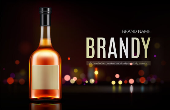 Brandy bottle mockup banner. Closed blank flask
