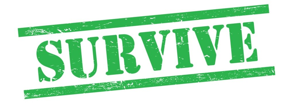 SURVIVE text on green grungy lines stamp.
